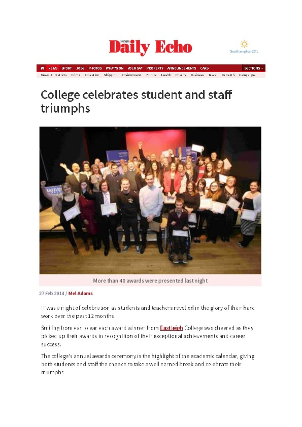 College celebrates student and staff triumphs