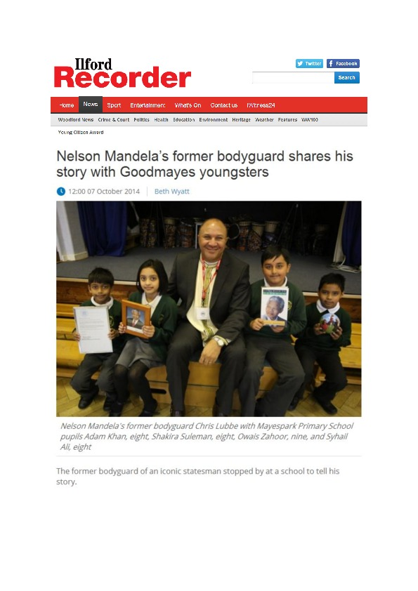 Nelson Mandela's former bodyguard shares his story with goodmayes youngsters